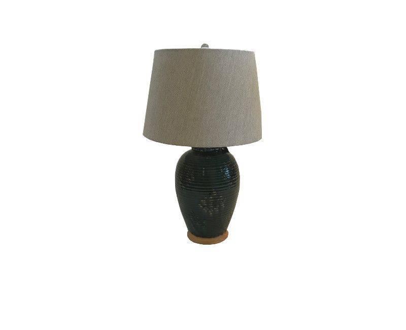 Lamp - Saquaro Ceramic Table Lamp in Green Base and Beige Shade