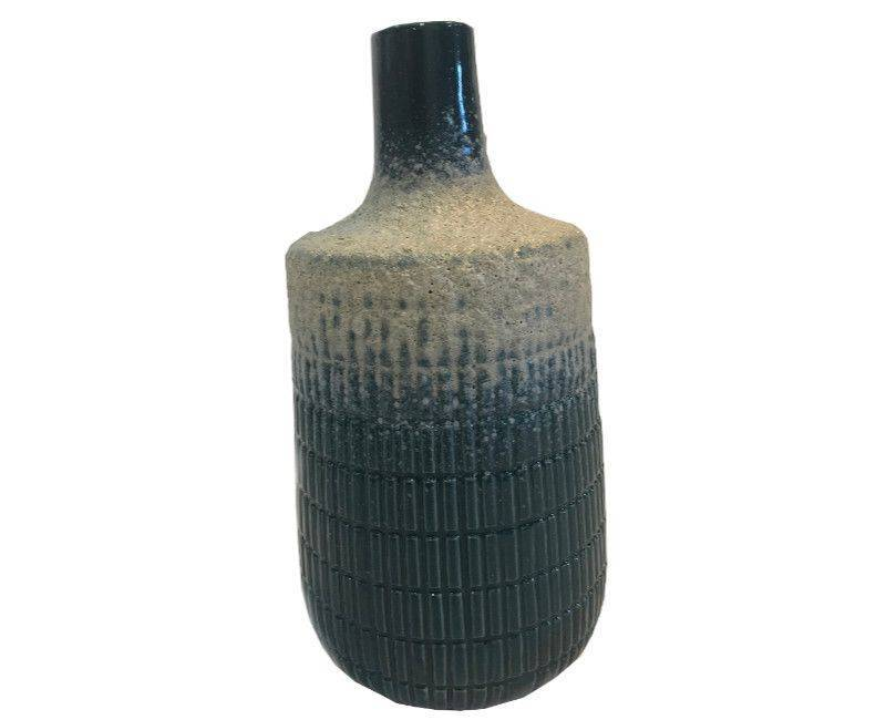 Decorative Ceramic Dark Green Textured Body Vase - Large