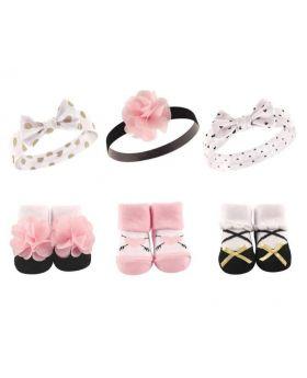 Headband & Socks Gift Set (Pink/Gold) 0-9 Months