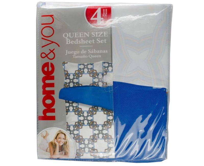 Home and You Queen Size 4 Piece Blue Printed Bed Sheet Set