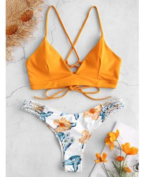 Braided Strap Flower Bikini Set Spaghetti Straps Wire Free Lace up Low Elastic Waisted Swim Suit Women Summer 2Pieces Sets
