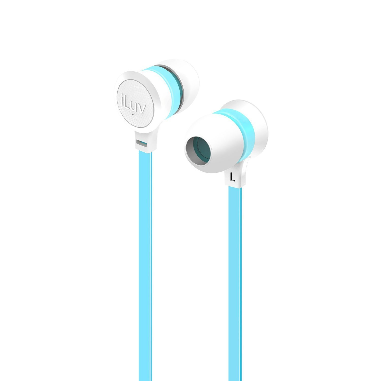 iLuv IEP334WBLN Neon Sound High-Performance Earphones White Blue