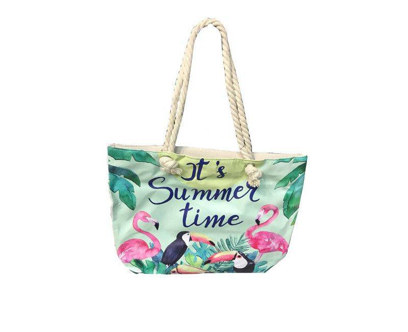 It's Summer Time canvas tote bag with rope handles