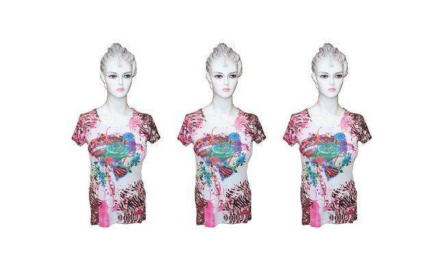 Ladies White and Pink Sublimation Top