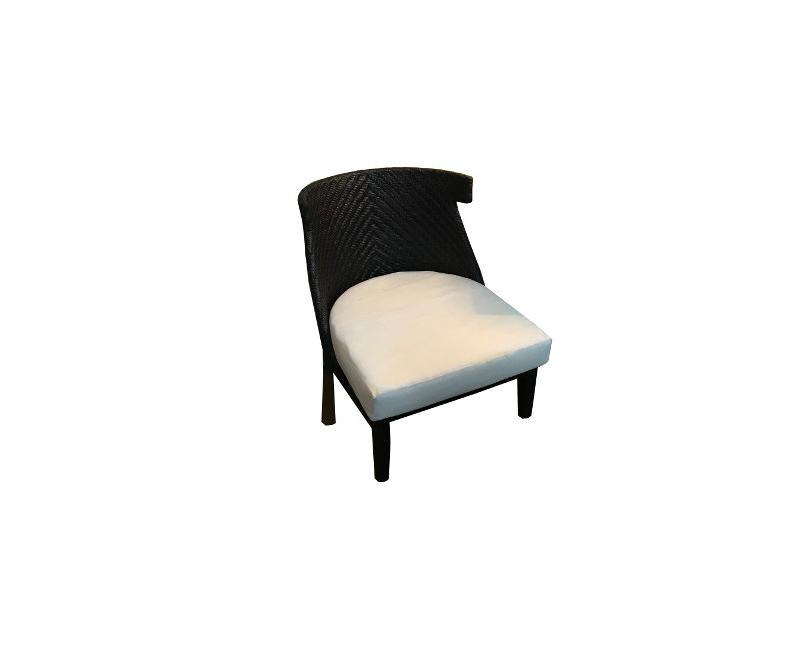 Lobby High Rhino Rattan Indoor Outdoor Dark Chair With White Cushion