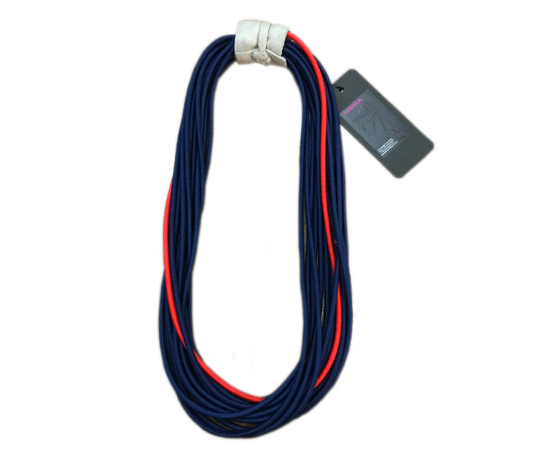 "Mema Designed ""Lastic"" Modern Fashion Statement Navy with Red Elastic Material Multistrand Necklace With Leather"
