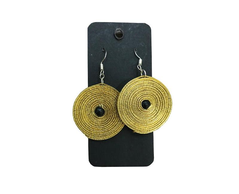 Mema Women's Fashion Jewelry Gold Spiral Feather Light  Disc Drop Single Black Bead Center Earrings