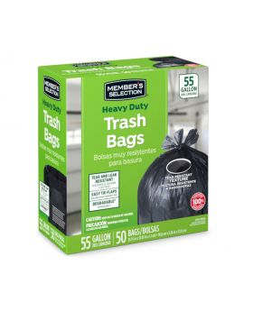 Member's Selection Heavy Duty Trash Bags 55 Gallon 50 Pack