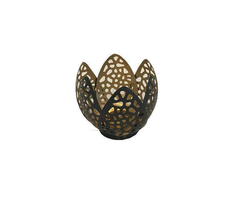 Metal Caged Petal Design Candle Holder Small