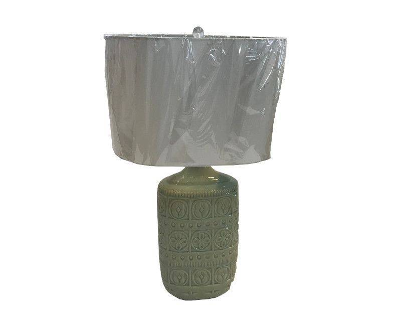 Minden Mint Green Table Lamp with White Shade