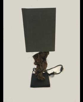 Miniuragon Table Lamp in Wood with Grey Shade