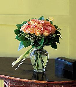 Nine Peach Roses Floral Arrangement