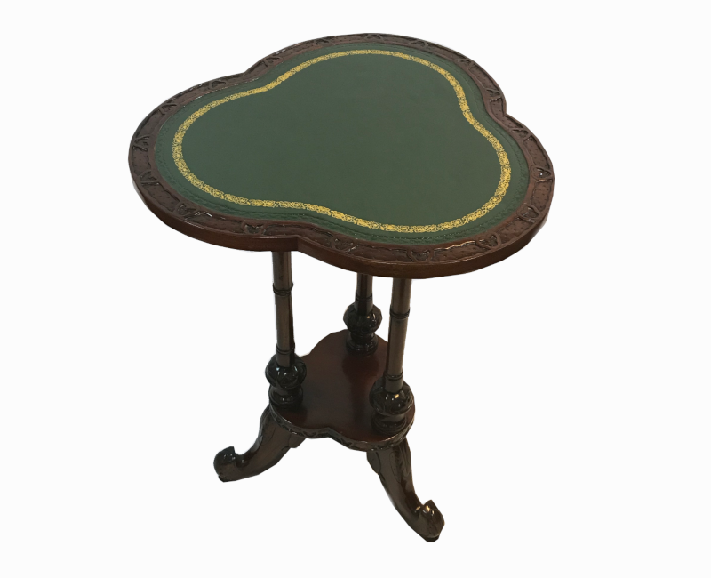 Occasional Accent Lamp Table in Wood with a Green Surface