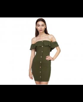 Off shoulder ribbed mini dress