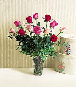 One Dozen Multi-Color Roses Floral Arrangement