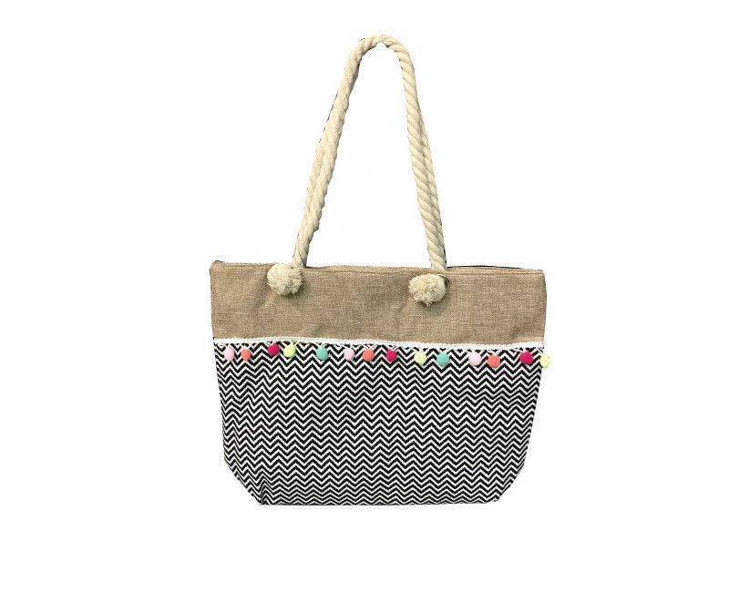 Straw canvas tote bag with colored pompoms