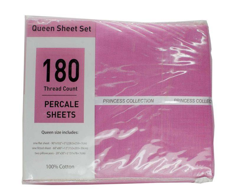 Princess Collection 180 Thread Count Pink Percale Queen Bedsheet Set