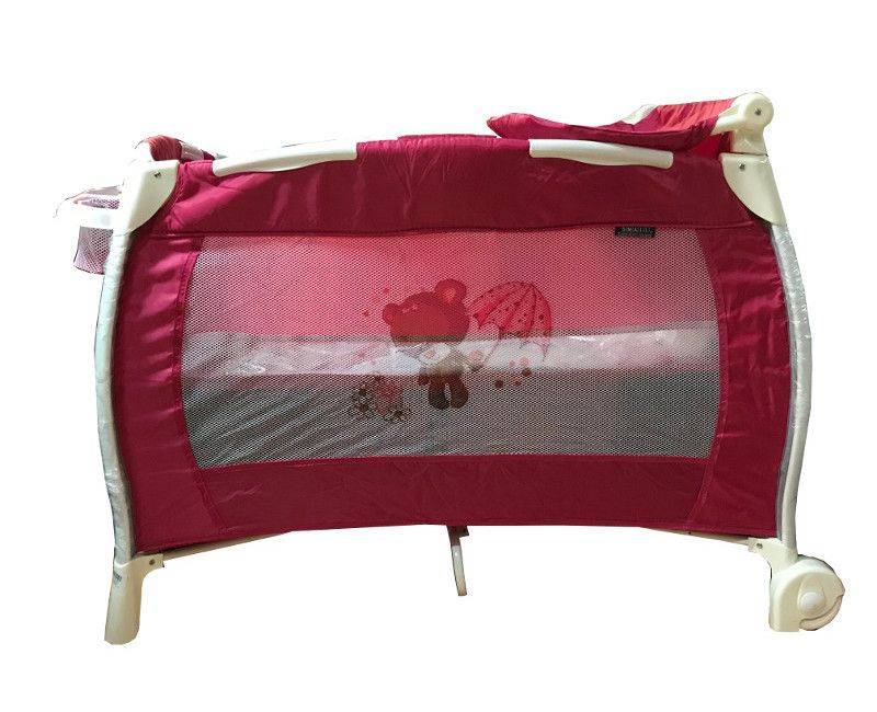 Red And White Teddy Play Pen With Changing Station And Change Supply Pocket