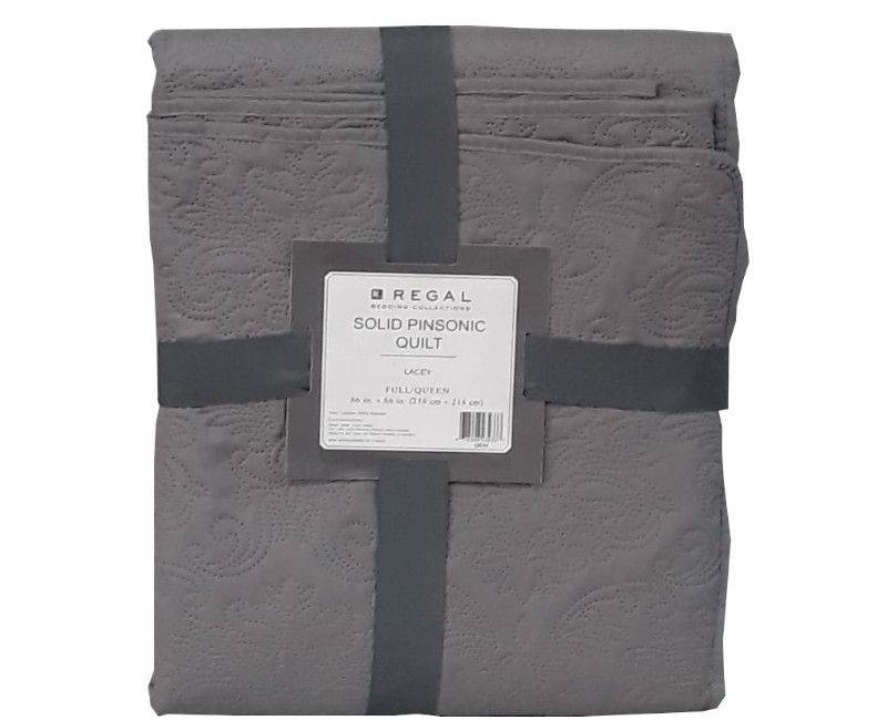 Regal Lacey Solid Pinsonic Quilt Full/Queen - Gray