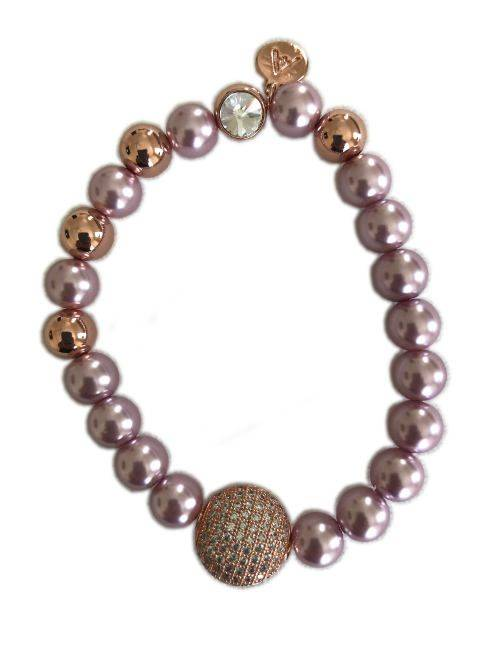 Rose Gold Attitude Matte and Brushed Bead Bangle Bracelet W/ Station of Closely Set Stones