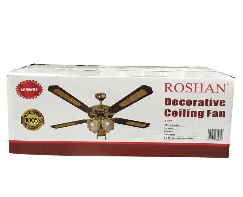 Roshan 15571 Modern Decorative 52 Inch Glass Bulb Light Ceiling Fan