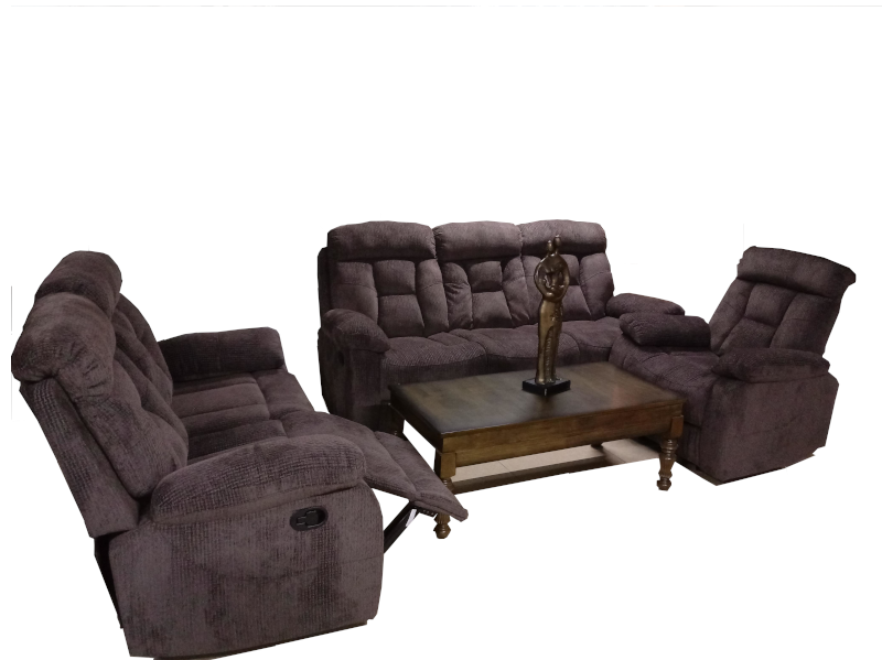 Roshley Light Brown Corduroy 3-piece Sofa with Reclining Seats