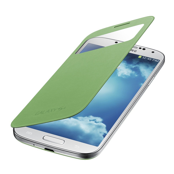Samsung Galaxy S4 Green Sview Cover half opened