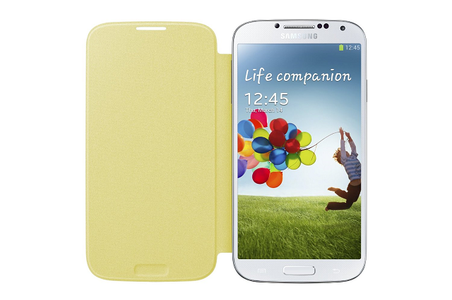 Samsung Galaxy S4 Yellow Flip Cover fully opened