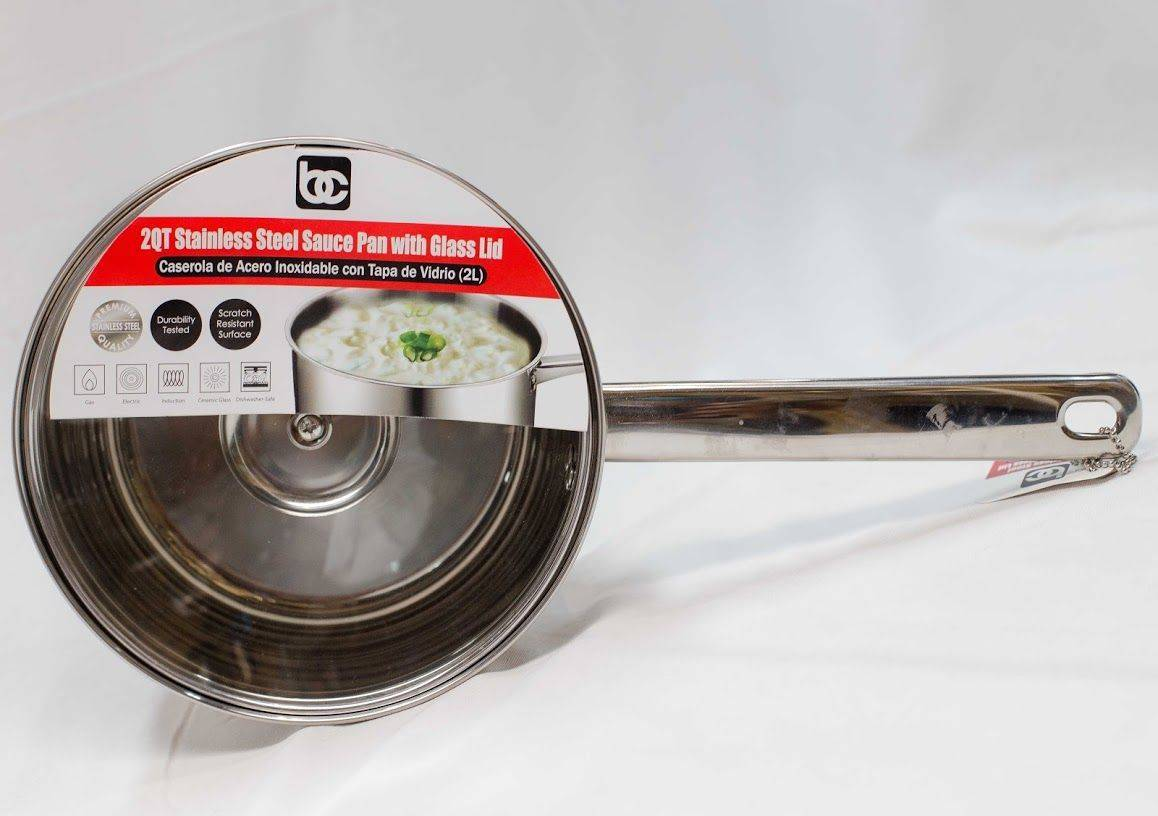 BC Classics 2QT Stainless Steel Sauce Pan w/ Glass Lid nless Steel Sauce Pan w/ Glass Lid
