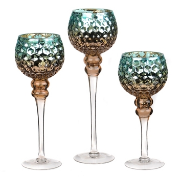 Set of 3 Blue & Brown Mercury Glass Charisma Candle Holders