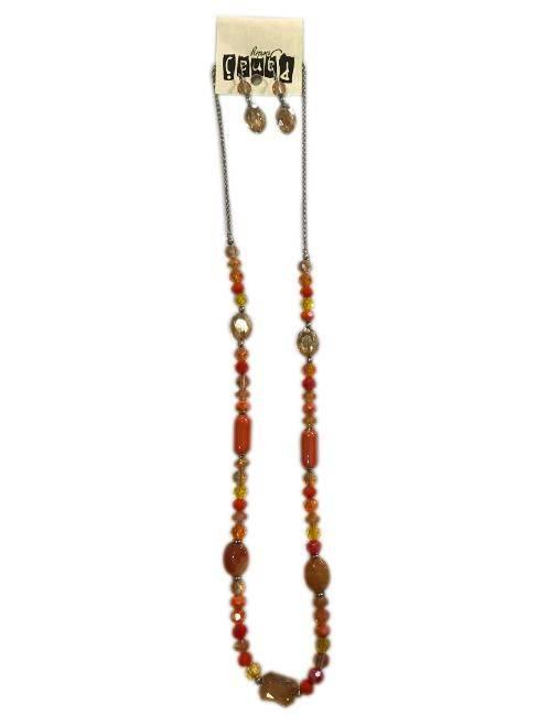 Panaj Shades Of Orange Shapes Of Orange Long Bead Necklace Matching Dangly Earrings Fashion Jewelry