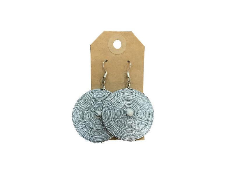 Mema Women's Fashion Jewelry Silver Spiral Feather Light Disc Drop Single Center White Bead