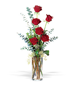 Six Red Roses Floral Arrangement