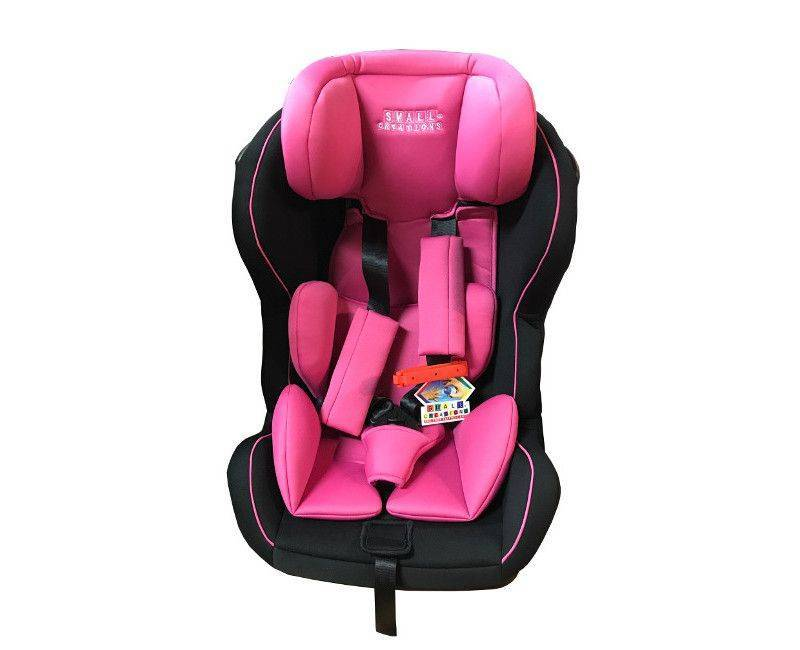 Small Creations pink and black carseat for infants and children up to 25 kg or 55 lbs