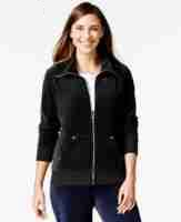 Style & Co. Sport Velour Zip-front Track Jacket Deep Black Size XL