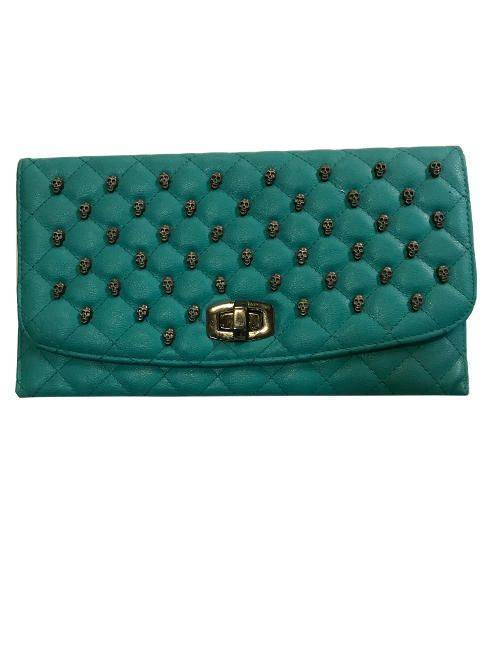 Classic Teal Quilted Punk Skull Stud Flapover Turn Lock Clutch Purse Handbag