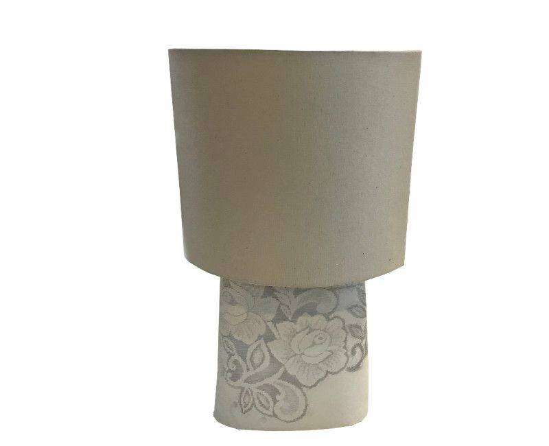 Terracotta Floral Base Lamp with Ivory Shade