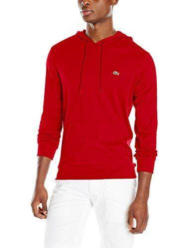 Lacoste Jersey Hoodie Dark Cherry Red 9/4XL - UPC 886619090614