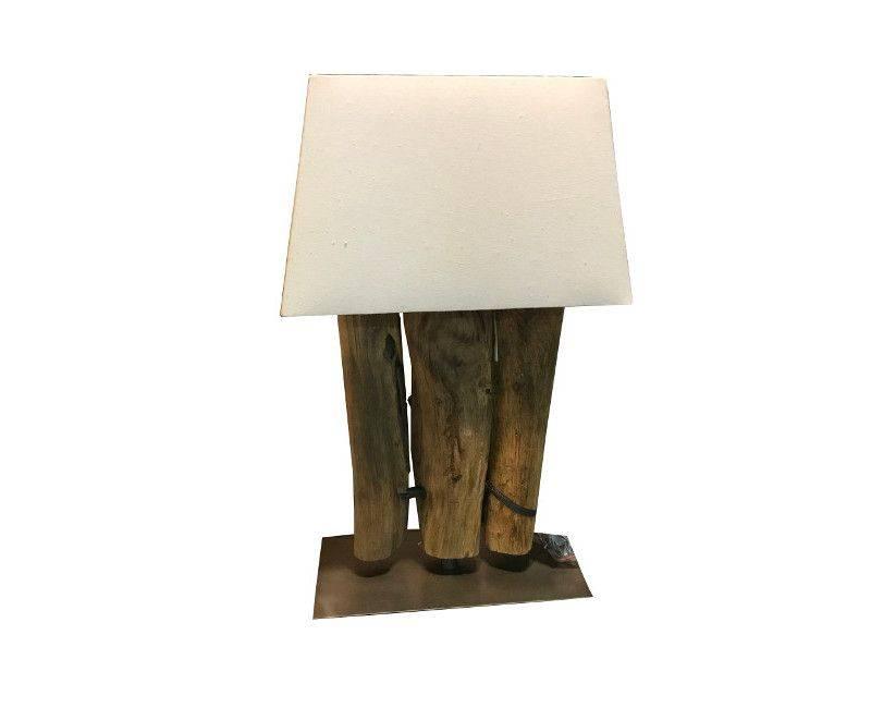 Tri teak wood table lamp