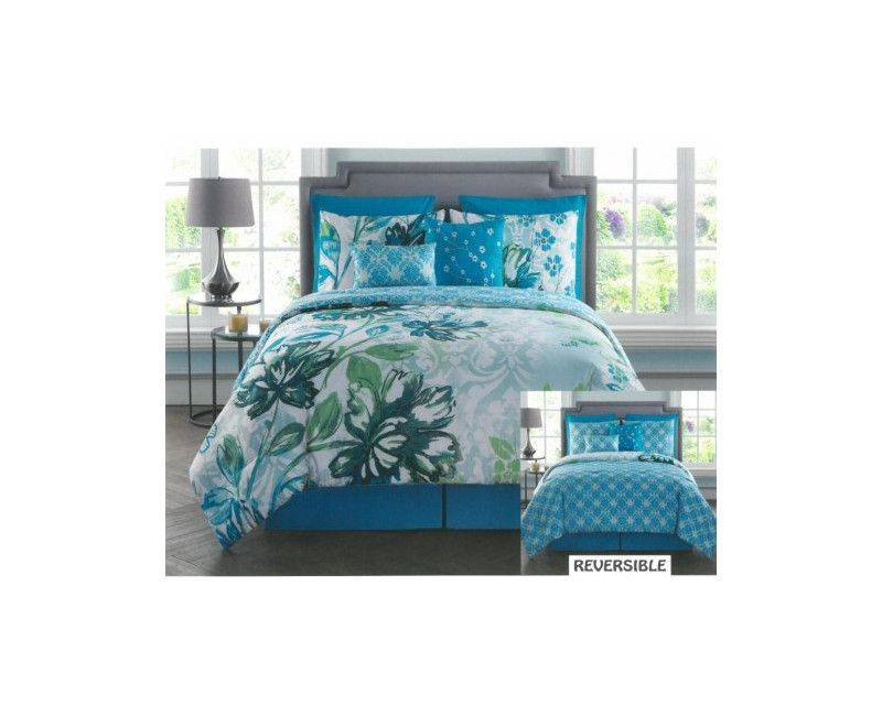 Victoria Classics Jayne Reversible 8pc Comforter Set King - Blue