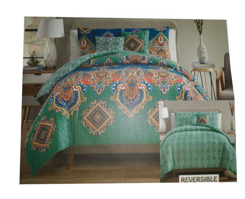 Victoria Classics Pipa Damask Reversible 5pc Comforter Set King - Multicolor