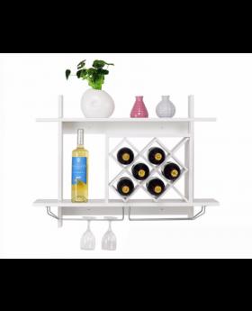 Wall Mount Wine Rack with Glass Holder & Storage Shelf Organizer