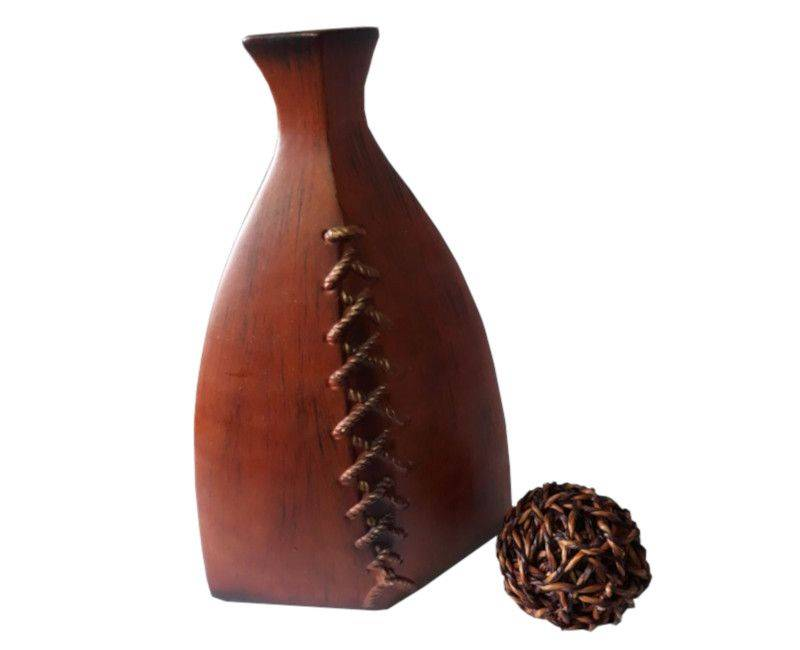 Wooden Accent Decorative Vase