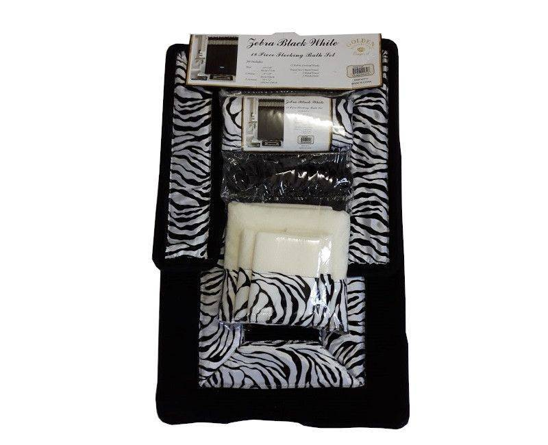 Zebra Black & White 18 Piece Flocking Bath Set