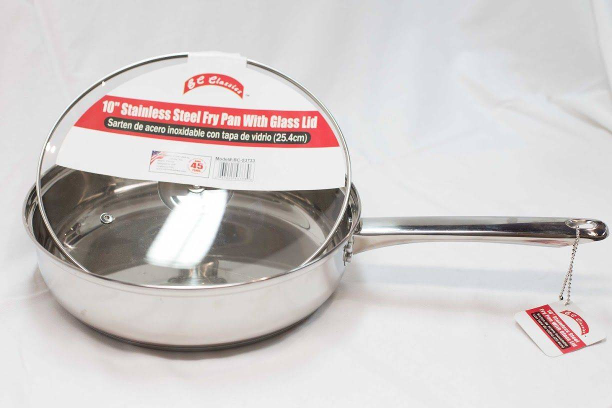 """BC Classics 10"""" Stainless Steel Fry Pan with Glass Lid (25.4cm)"""