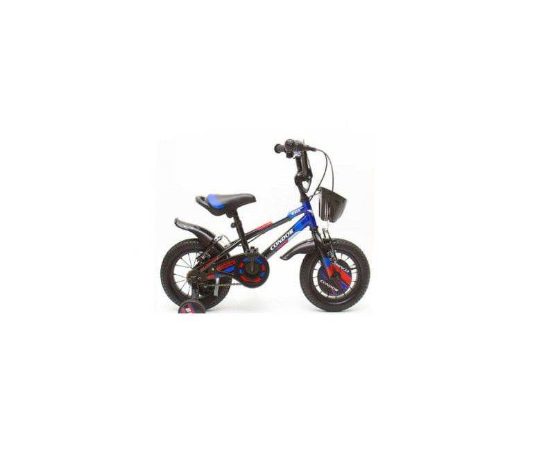 "12"" Black and blue bike with water bottle holder and basket"
