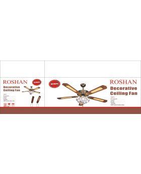 Roshan 15571 Modern Decorative 52 Inch Glass Bulb Light Ceiling Fan