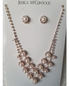 Necklace and Earring Jewelry Set Rose Gold and Rhinestones