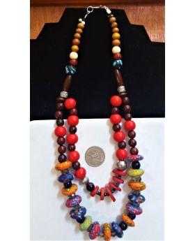 Lilibit Creation double-string Necklace Mixed Wood and African Beads in Multi-colour Combination