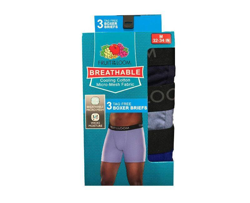 Fruit of the loom 3 boxer brief pack in size medium 32-34 inches With breathable cooling cotton micro-mesh fabric.